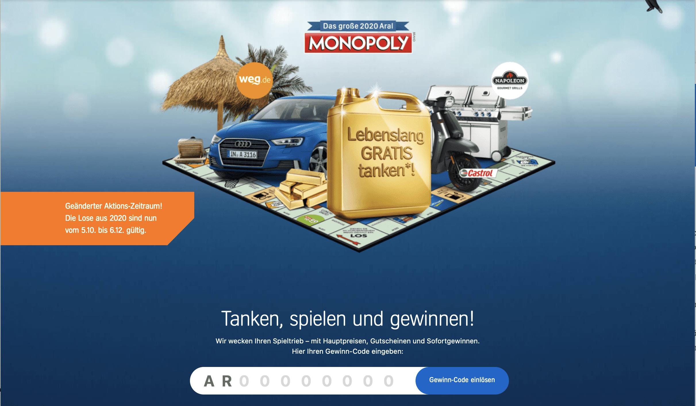 Aral Monopoly 2020 Code-Gewinnspiel mit PAYBACK