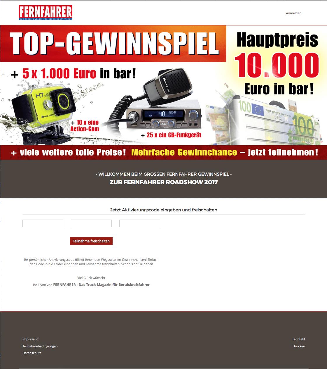 Case_Fernfahrer_Abonnenten_Gewinnspiel_Landingpage