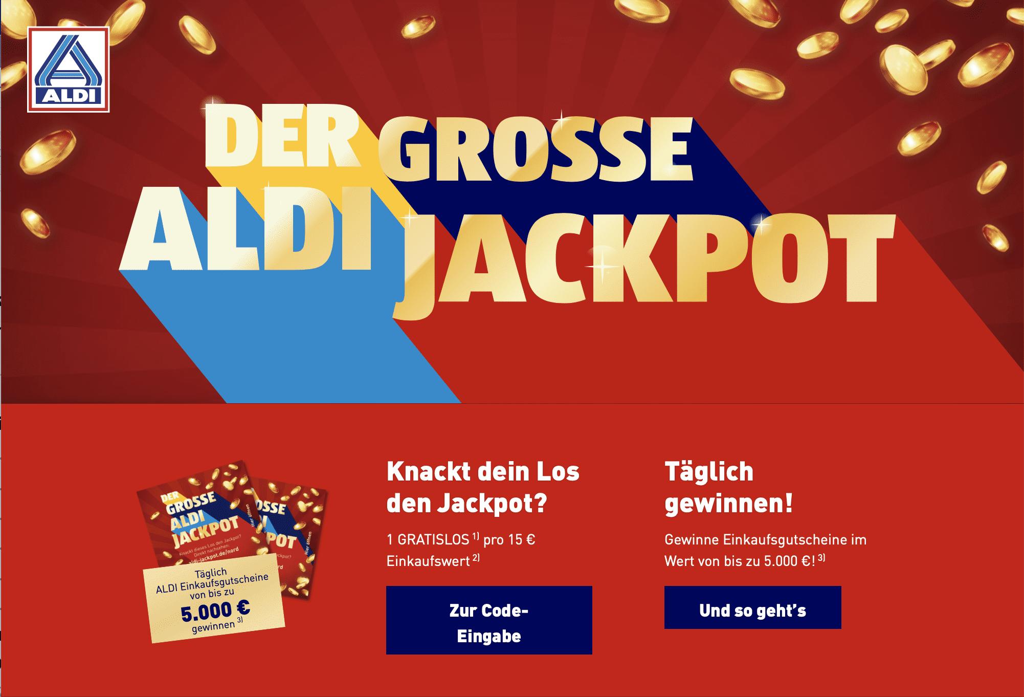 Gewinnspiel-Cases Lebensmittelhandel Aldi Jackpot