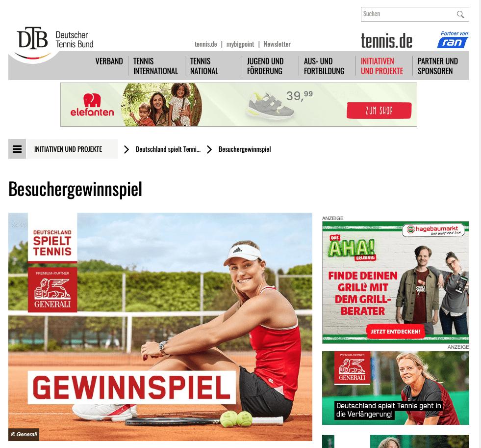 """DTB-Gewinnspiel """"Deutschland spielt Tennis"""""""