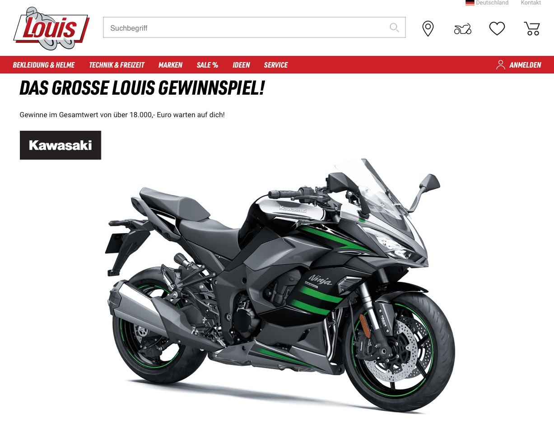 Eine Ninja 1000 SX beim Motorrad-Gewinnspiel von Louis