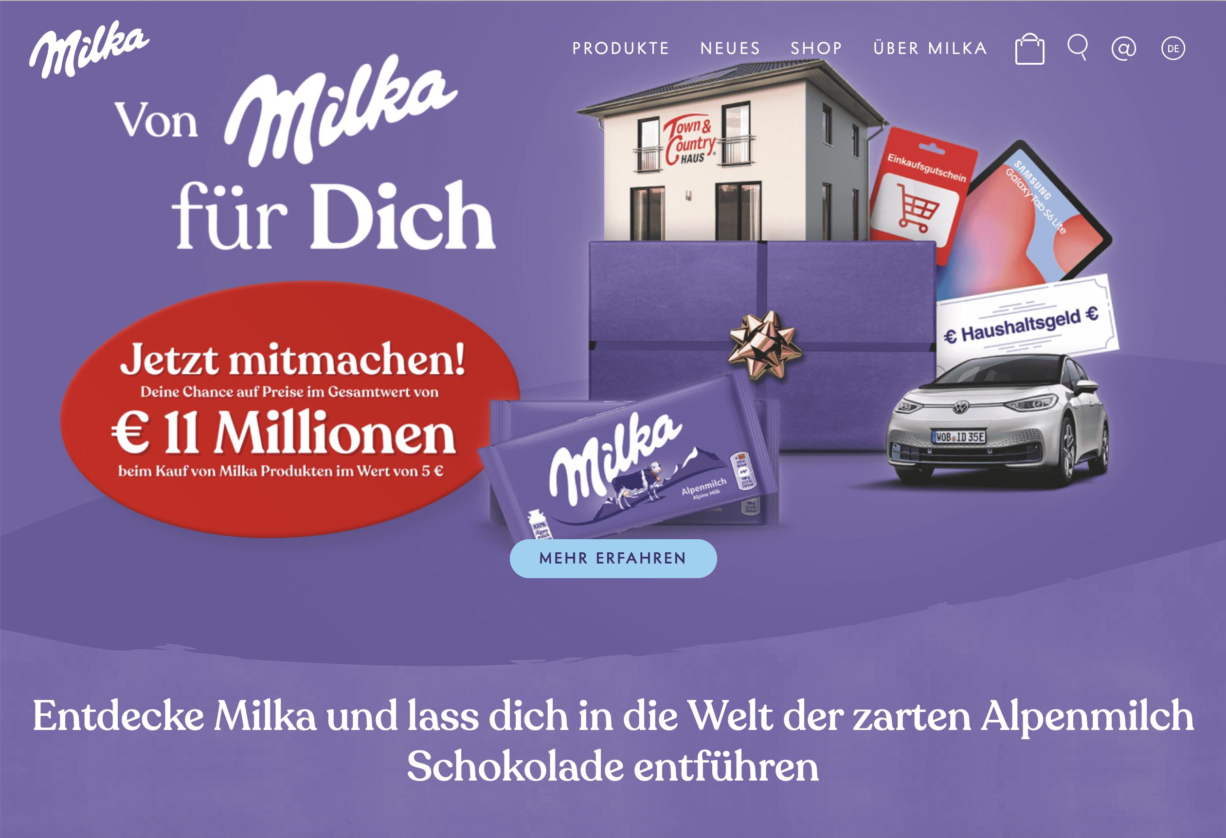 Gewinnspiel- Cases FMCG Süßwaren & Snacks Milka