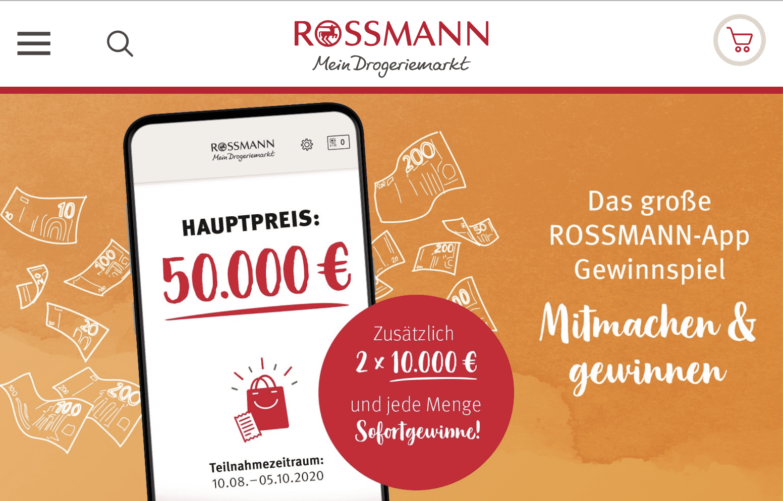 Die Gewinnspiel-Cases Drogeriemärkte Rossmann Hauptpreis 50.000 €
