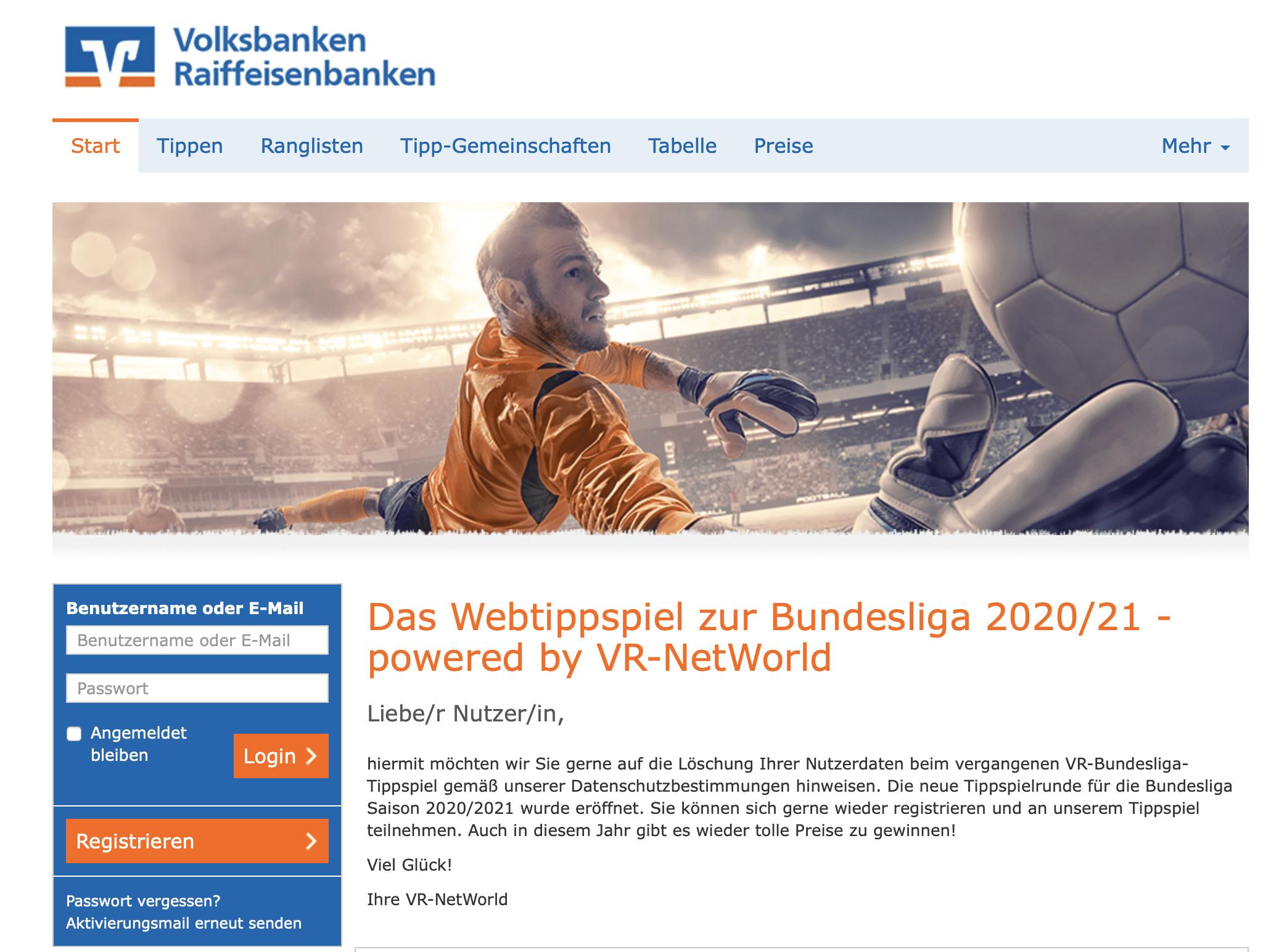 Tipp-Gewinnspiel Volksbank-Raiffeisenbank
