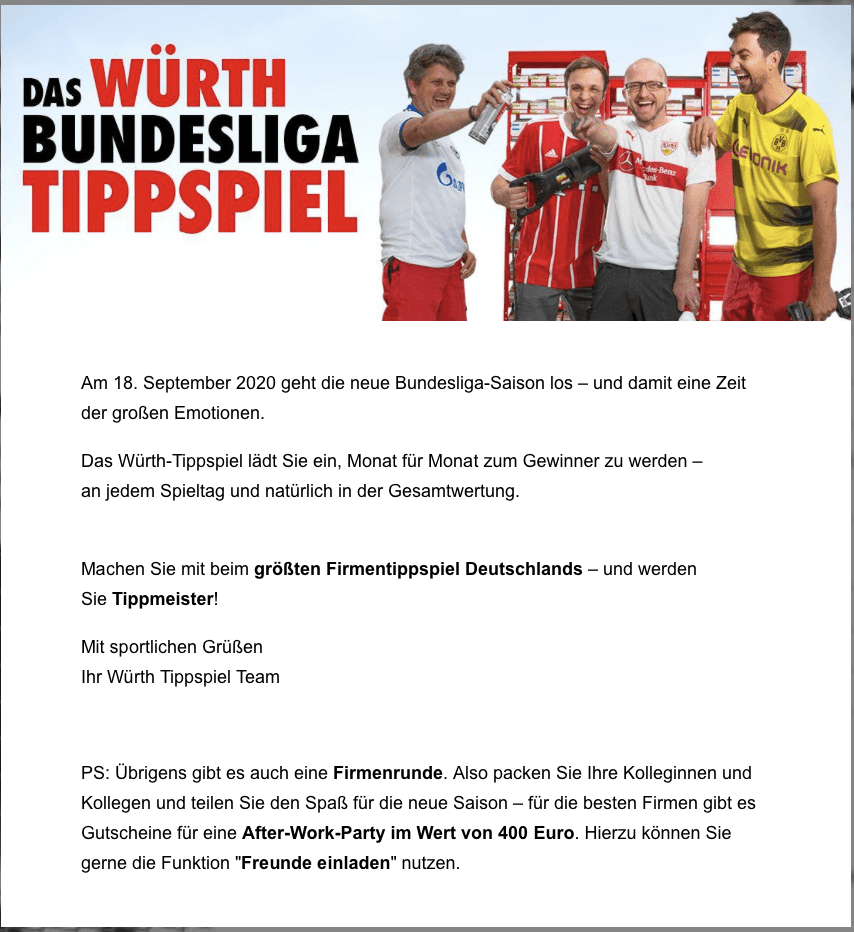 Würth Tipp-Gewinnspiel