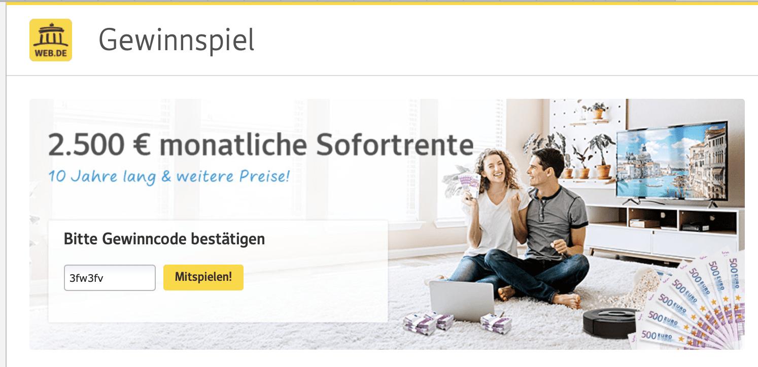 Web.de: Sofortrente gewinnen – monatlich 2.500 Euro Gewinnspiele zur Lead-Generierung