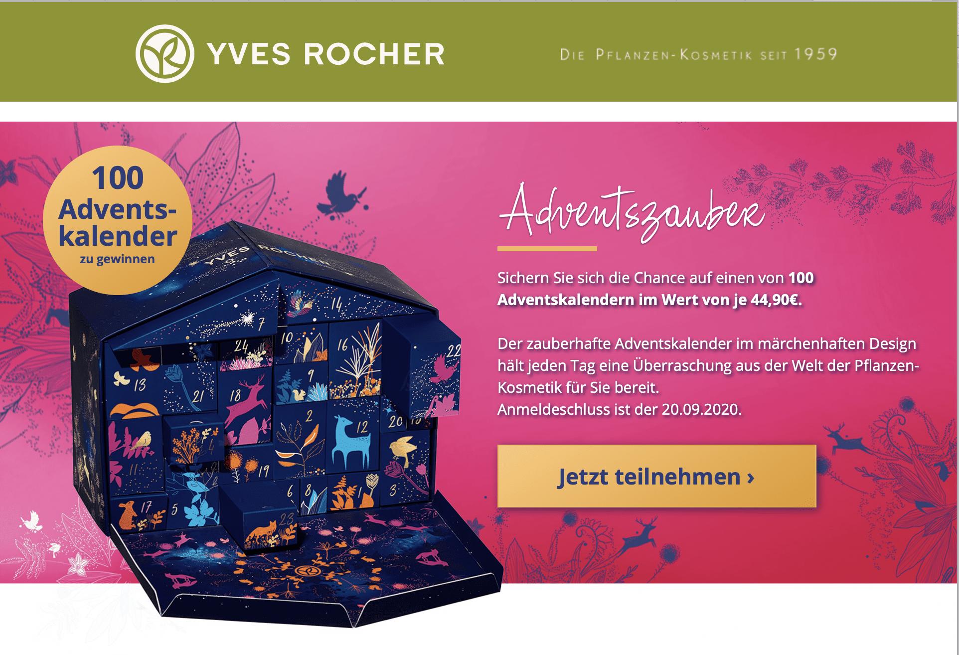 Yves Rocher Adventskalender-Gewinnspiel 2020 Gewinnspiele zur Lead-Generierung