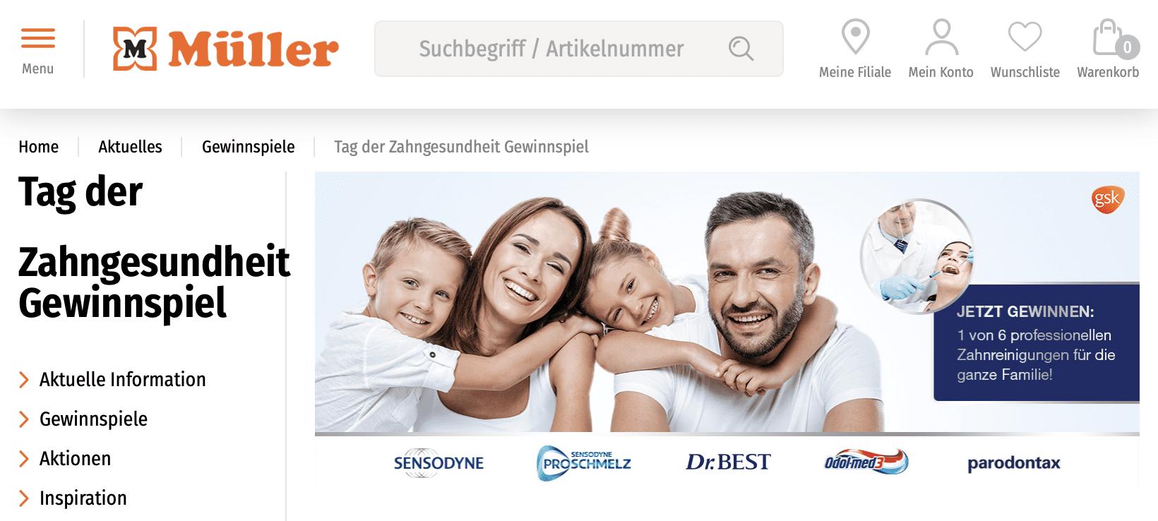 Gewinnspiel-Cases Drogeriemärkte Müller Gewinnspiel