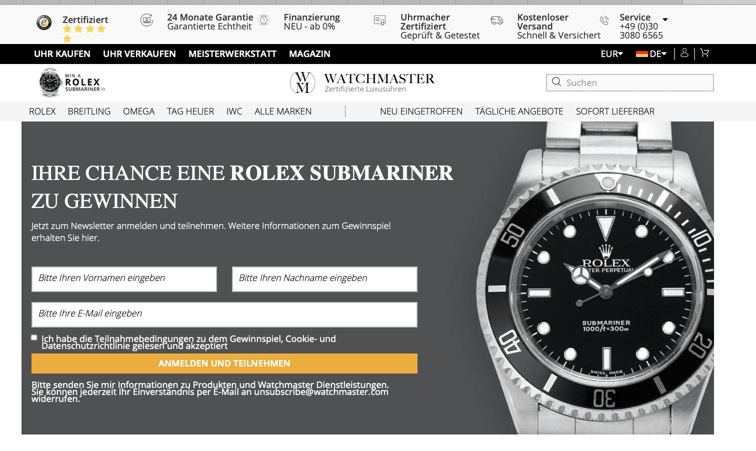 Rolex Submariner Gewinnspiel