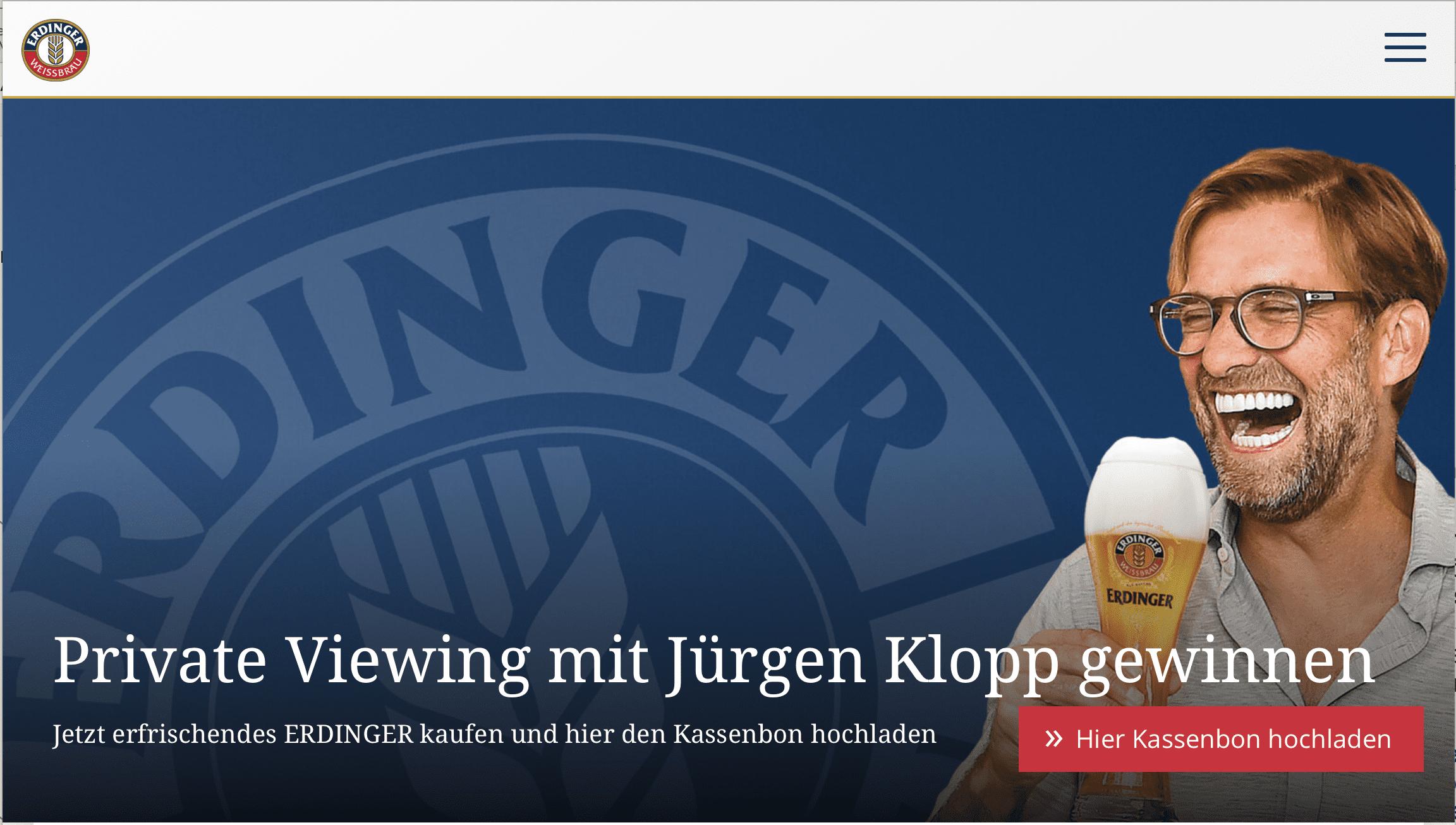 Erdinger Gewinnspiel Jürgen Klopp Gewinnspiel-Cases FMCG Getränke