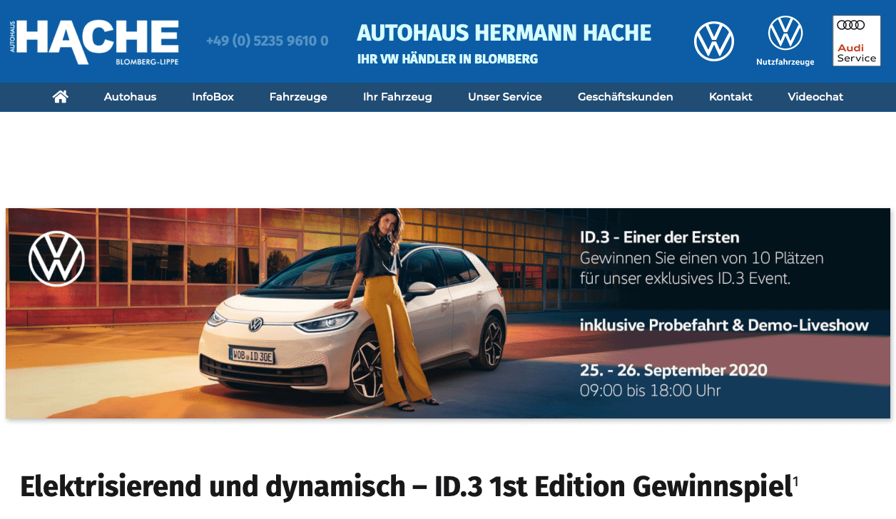 ID.3 1st Edition Gewinnspiel vom Autohaus Hache