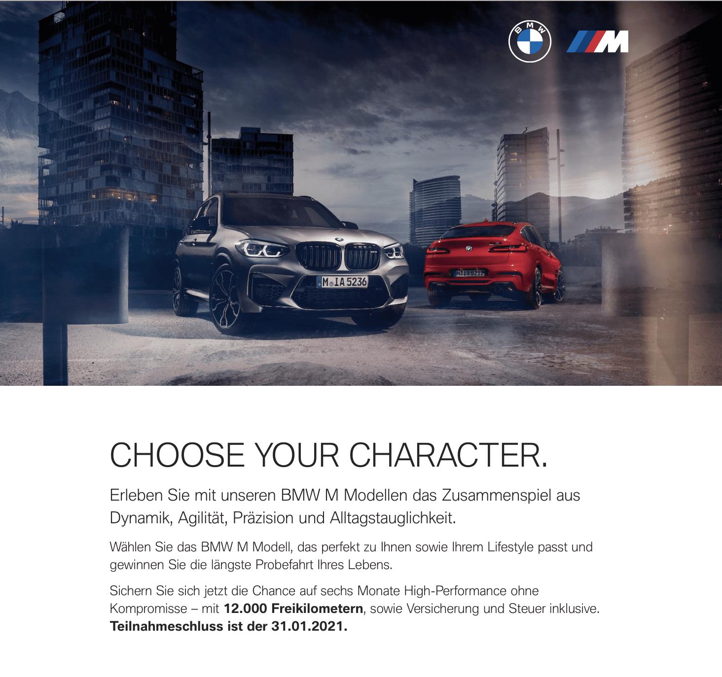 BMW Gewinnspiel: CHOOSE YOUR CHARACTER