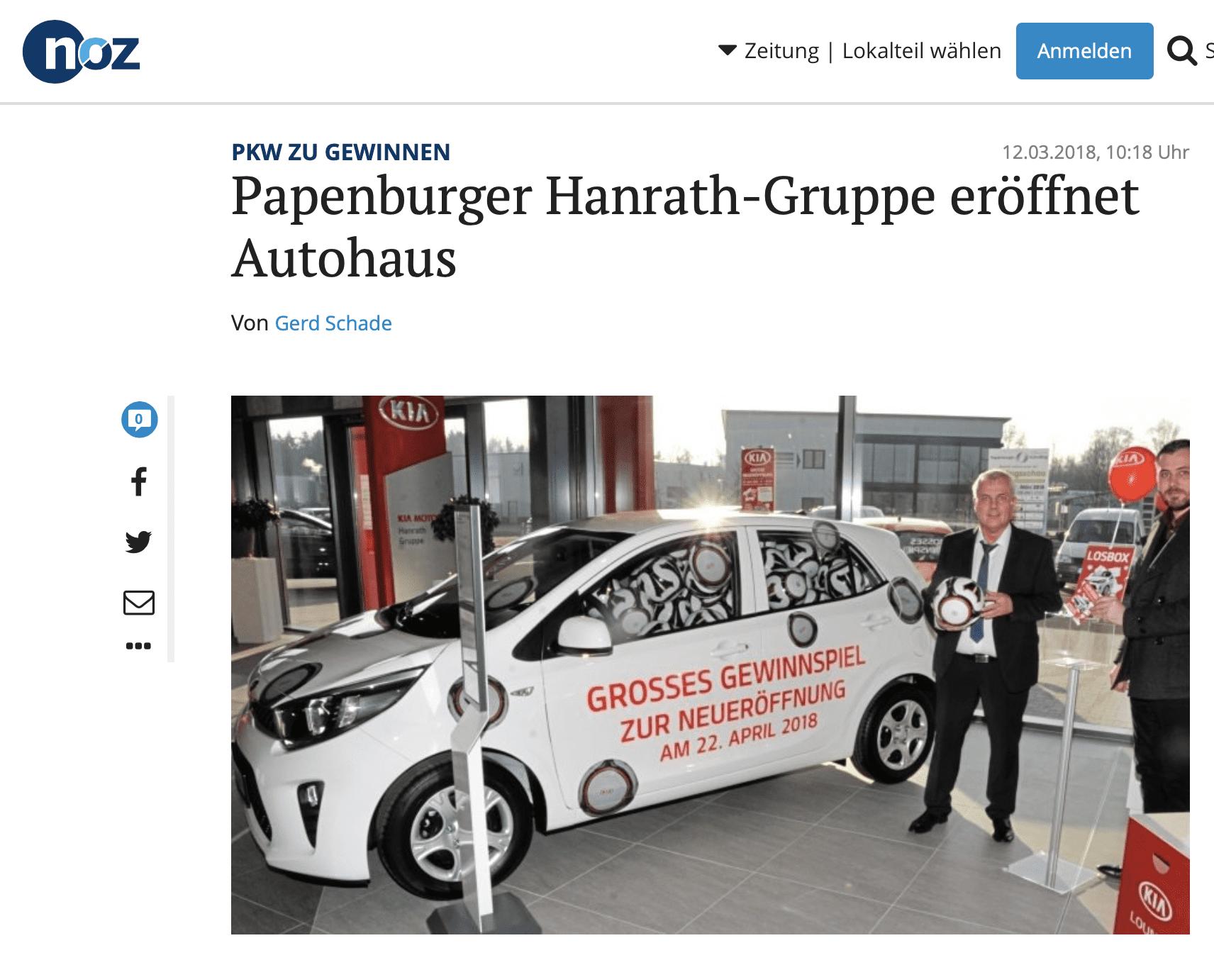Papenburger Hanrath-Gruppe eröffnet Autohaus mit Schätz-Gewinnspiel