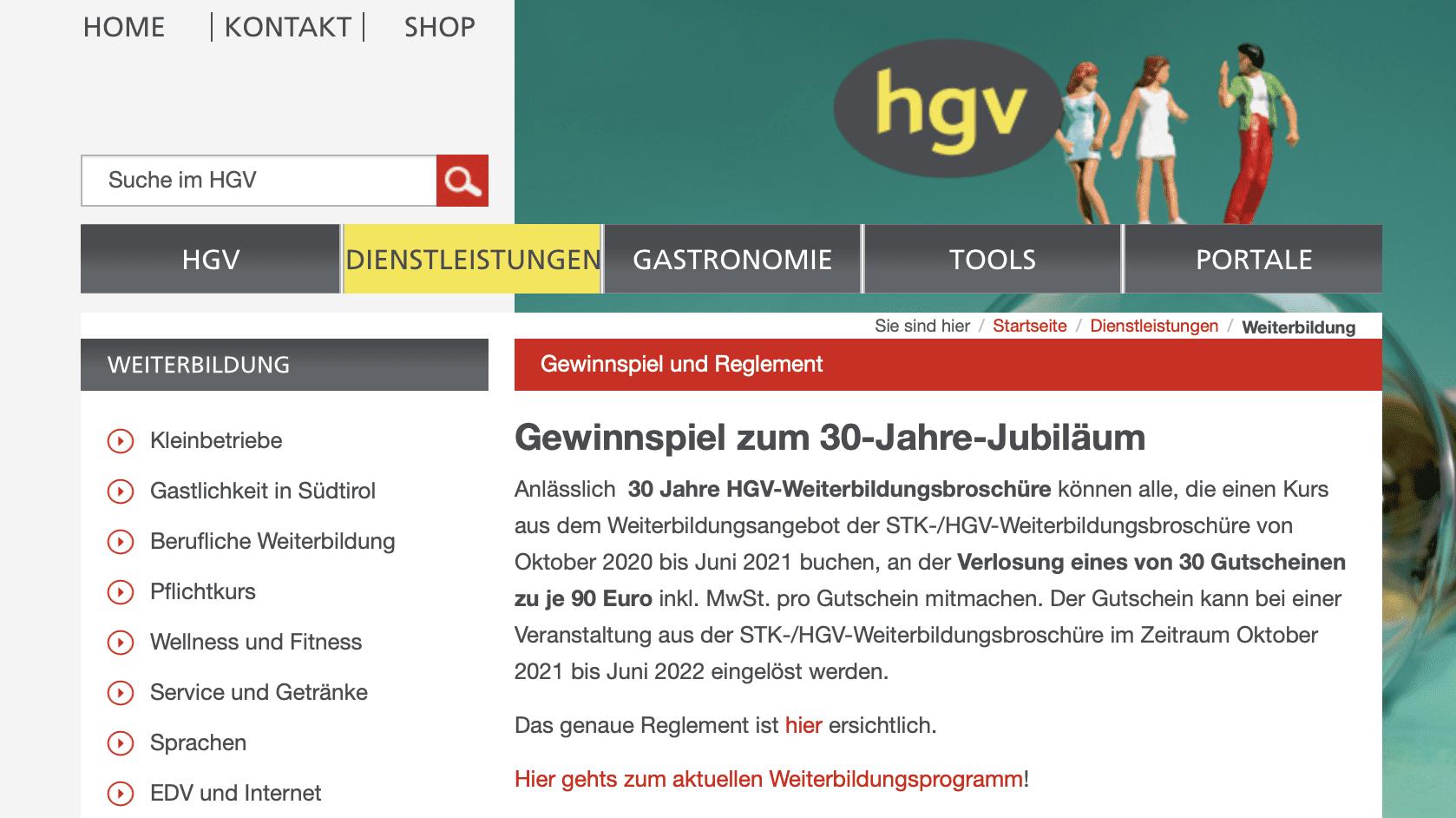 Gewinnspiel-Cases Dienstleistungen & Handwerk HGV