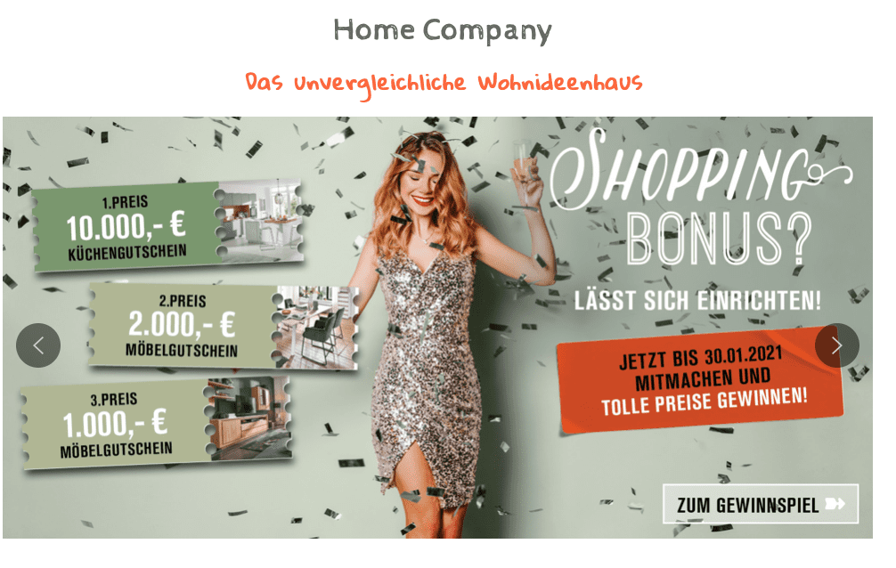 Gewinnspiel-Cases Möbelhäuser Homecompany