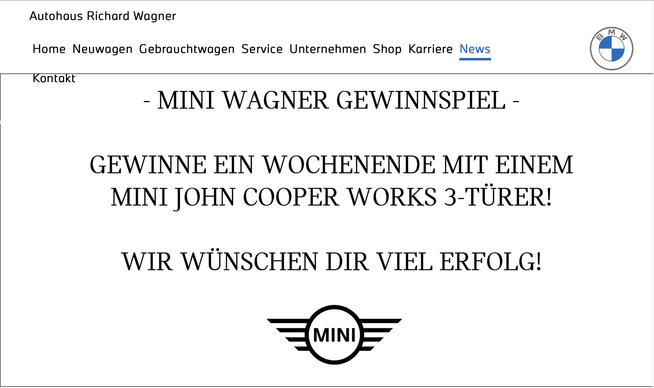 BMW-Wagner: Ein Wochenende im Mini John Cooper gewinnen