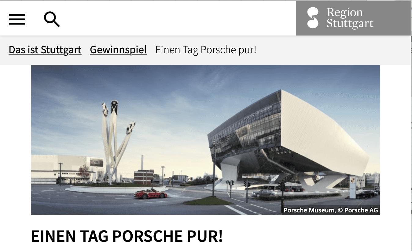 Einen Tag Porsche pur von Stuttgart-Touristik gewinnen!