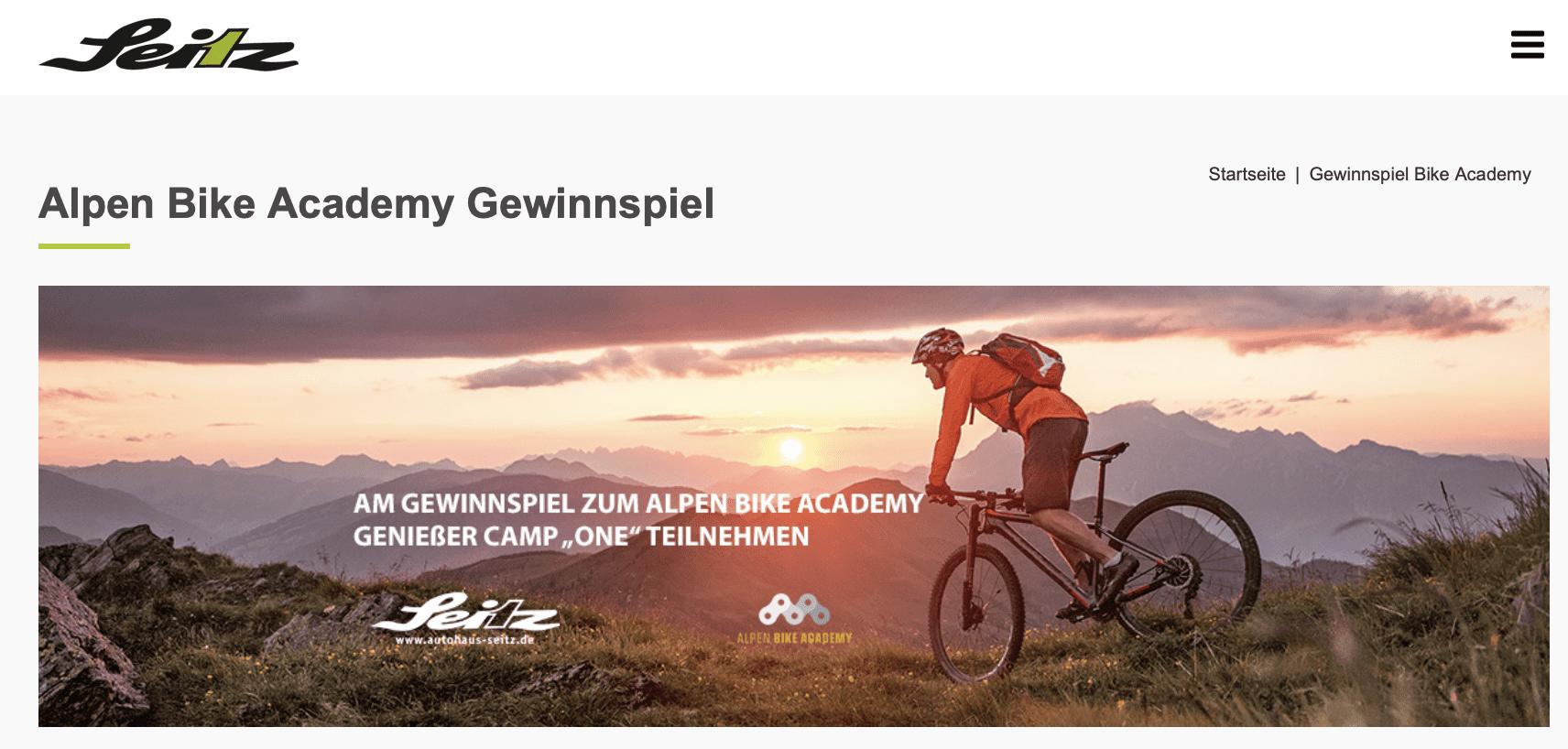 Autohaus Seitz Alpen Bike Academy Gewinnspiel