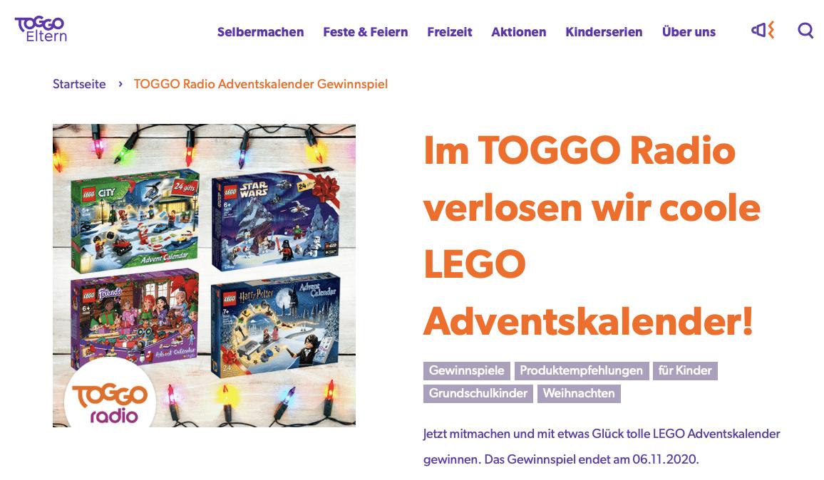 Cases Adventskalender-Gewinnspiele  TOGGO