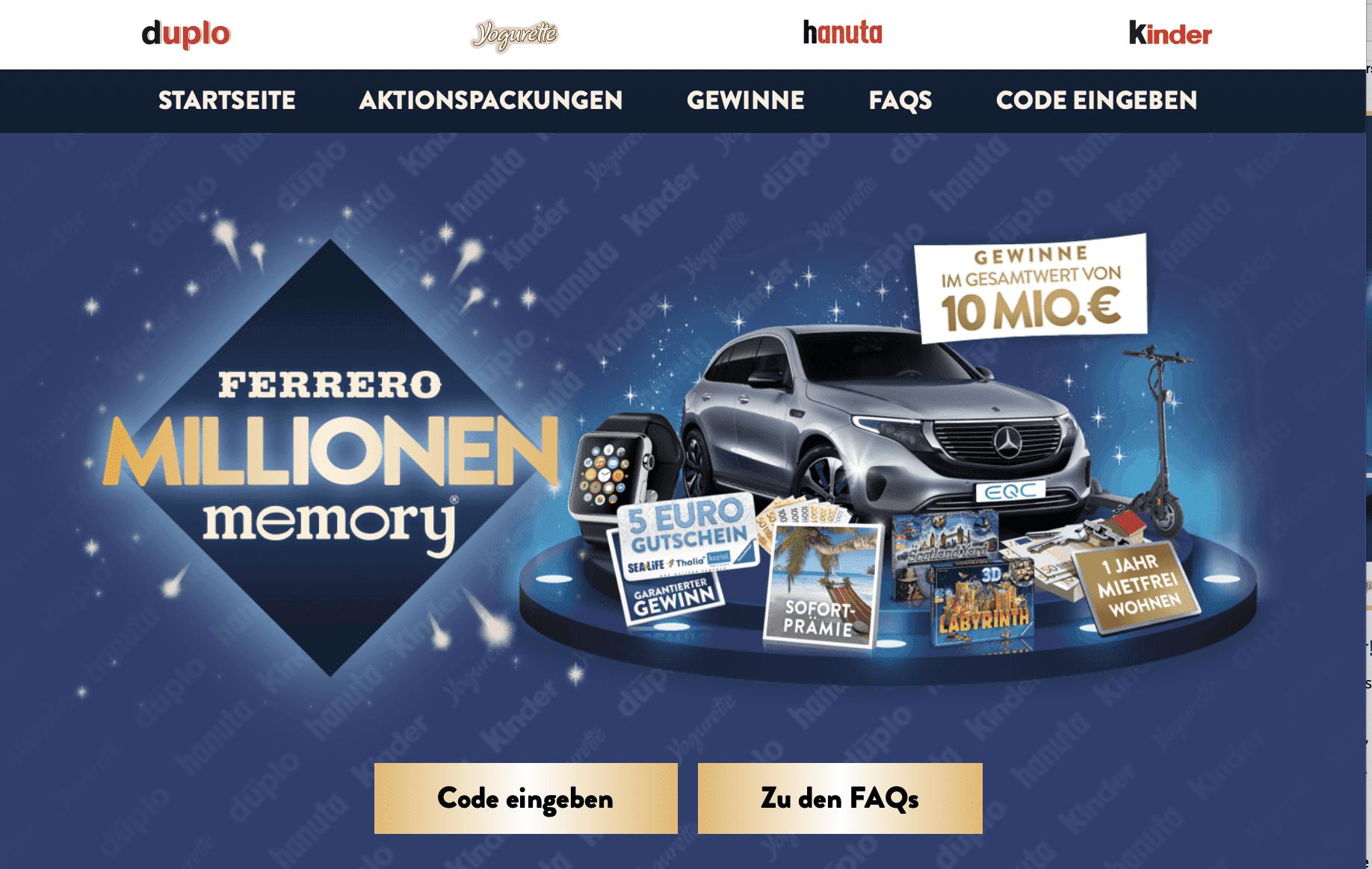 Ferrero Millionen Memory Gewinnspiel-Cases FMCG Süßwaren & Snacks