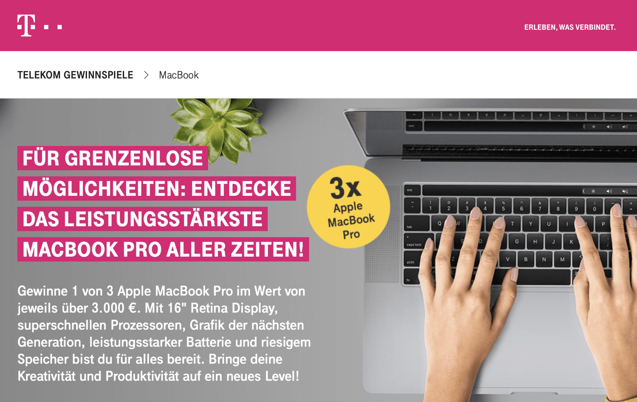 Gewinnspiele zur Lead-Generierung: Macbook Pro mit der Telekom gewinnen