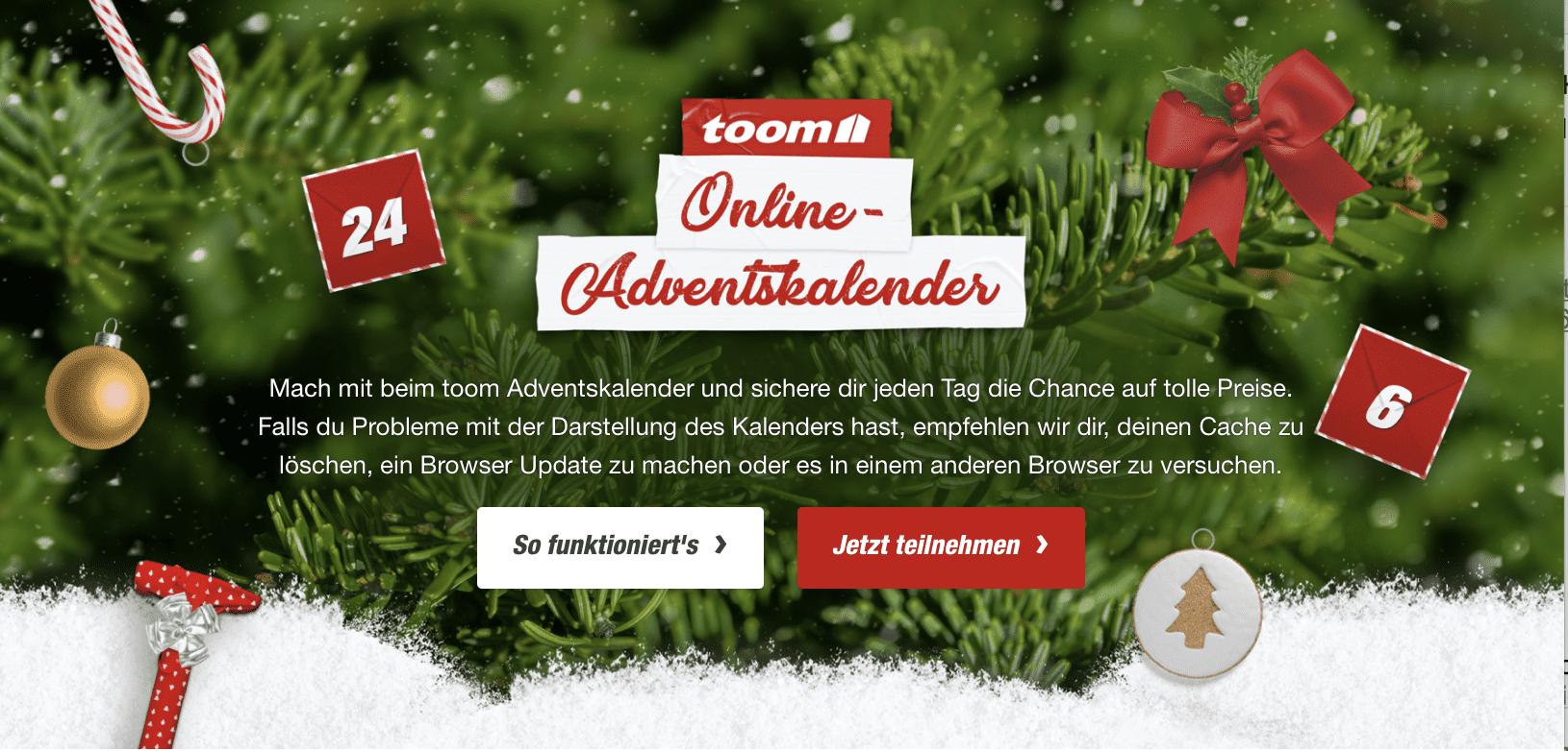 toom Online Cases Adventskalender-Gewinnspiel