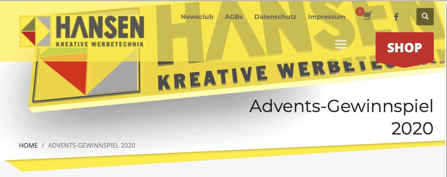 Hansen Werbetechnik Adventskalender-Gewinnspiel