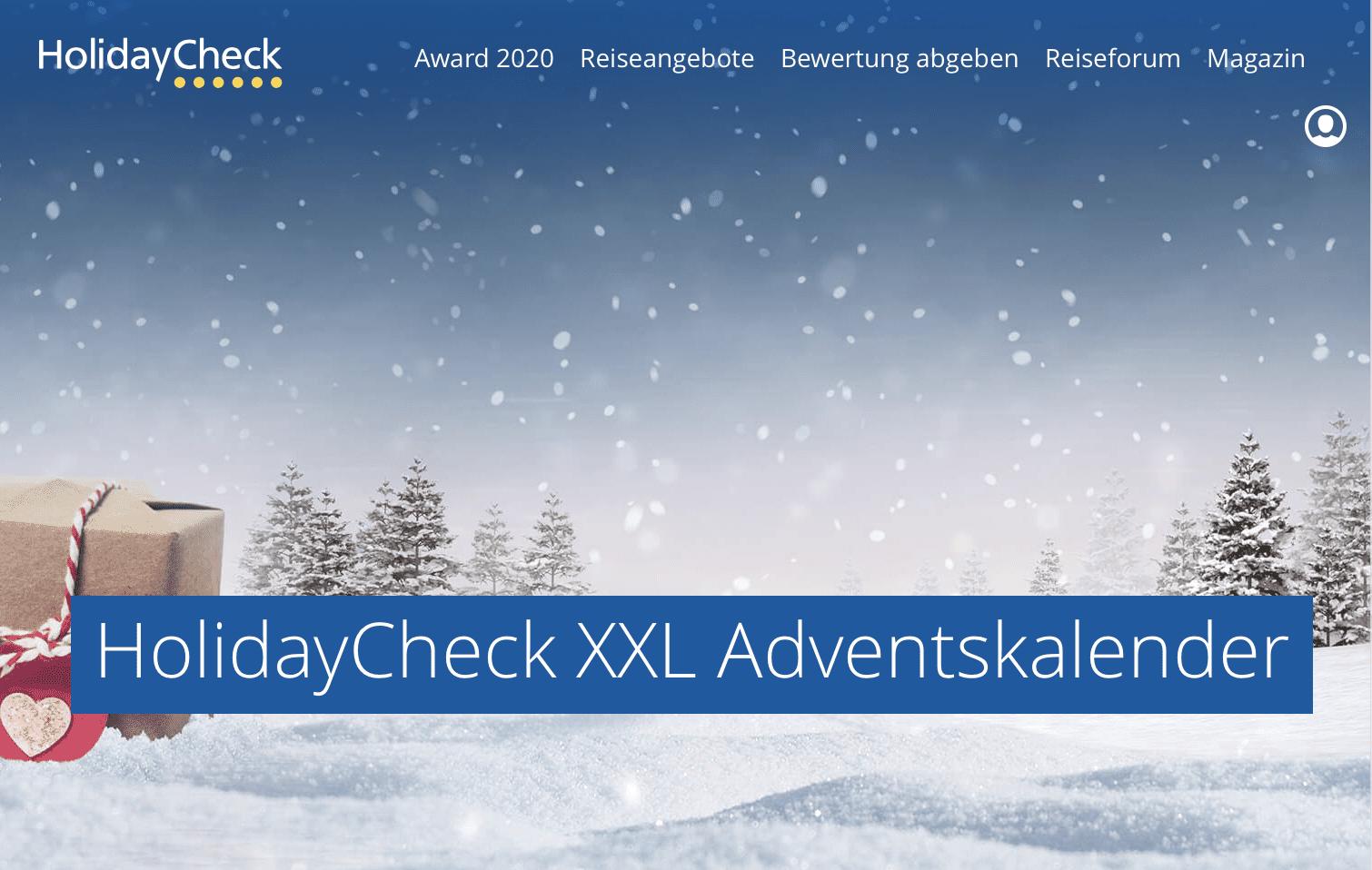 HolidayCheck Cases Adventskalender-Gewinnspiel
