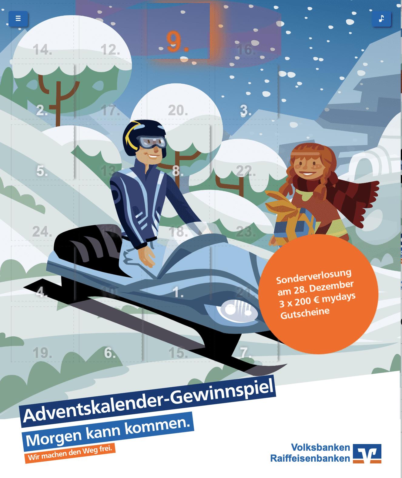 Volksbank Raiffeisenbank Cases Adventskalender-Gewinnspiel
