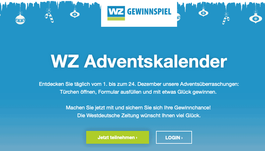 WZ Westdeutsche Zeitun g Cases Adventskalender-Gewinnspiele