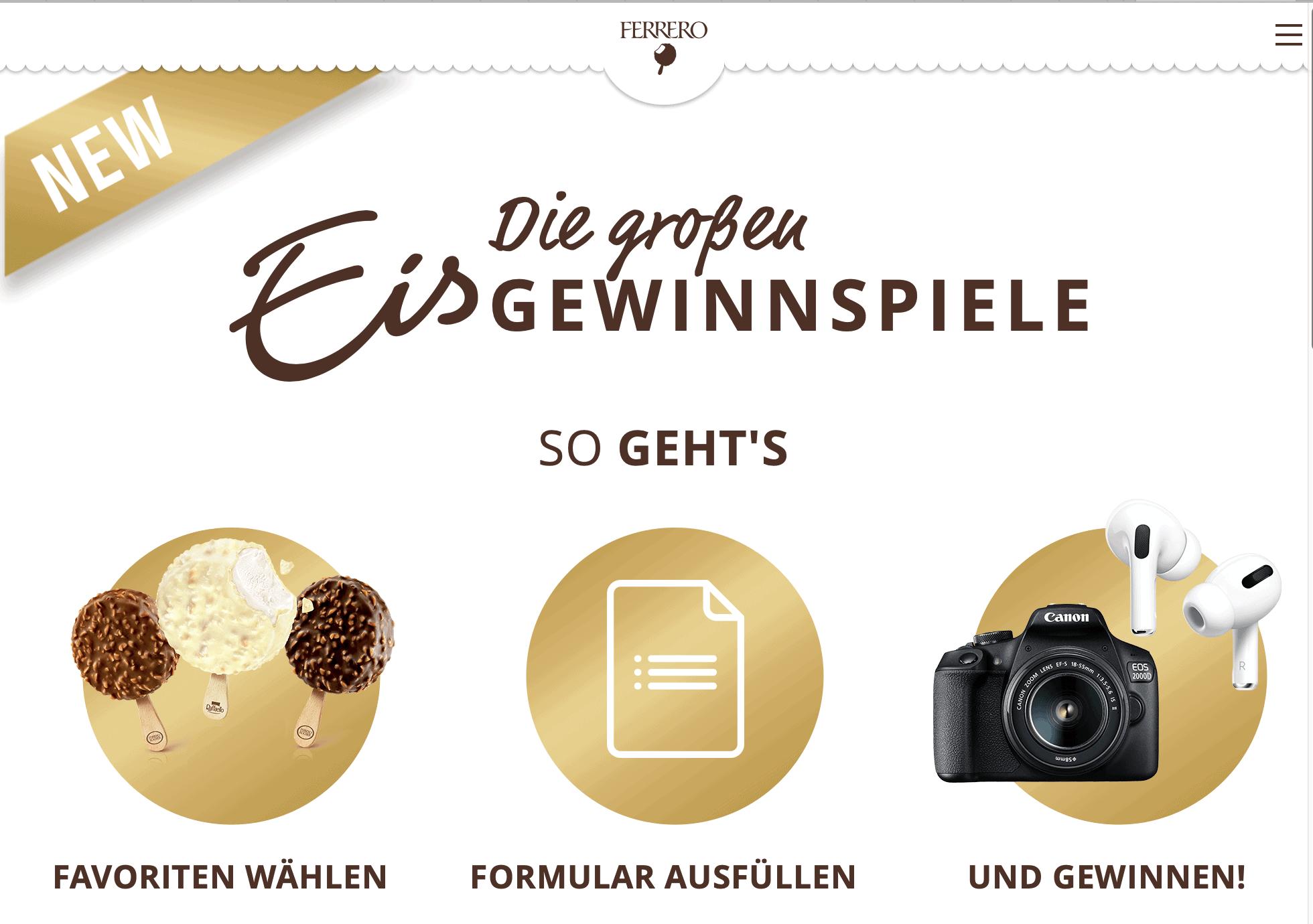 Ferrero Eisgewinnspiel