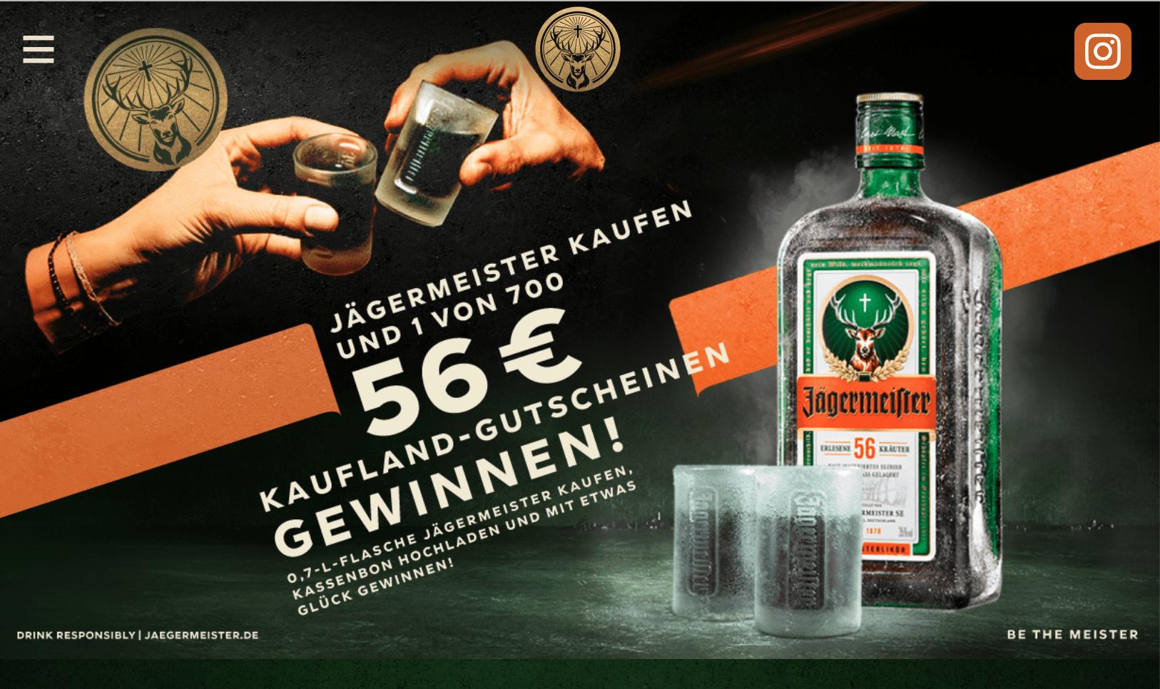 Jägermeister Gewinnspiel-Cases FMCG Getränke