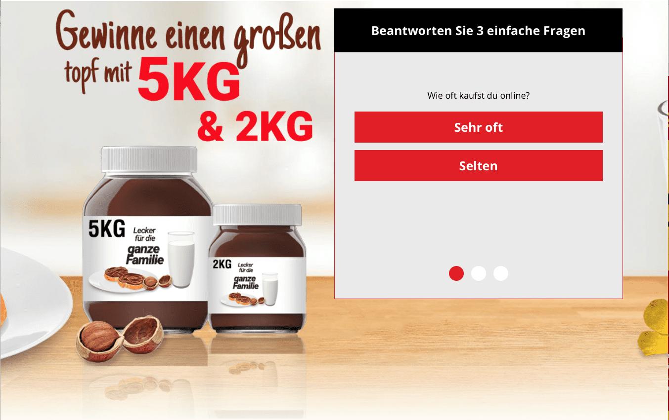 Nutella Gewinnspiele zur Lead-Generierung