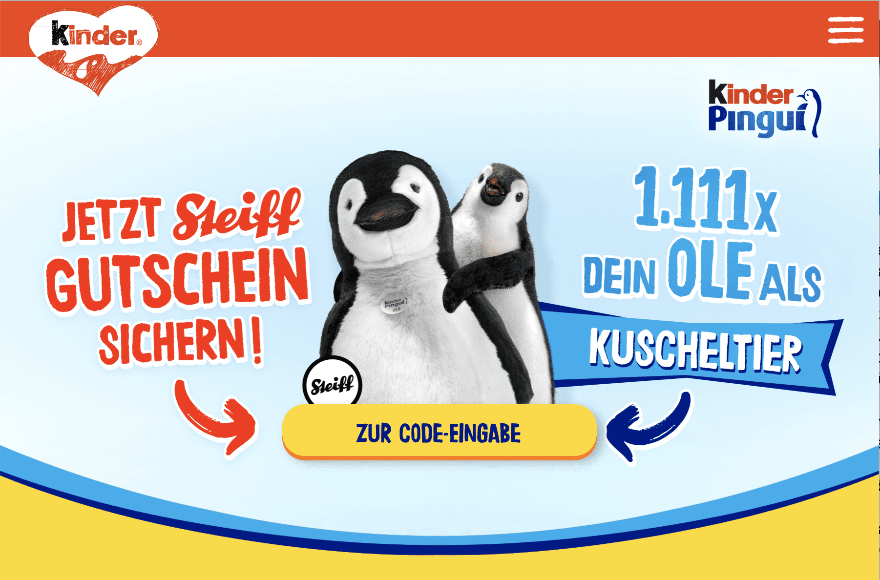 Kinder Pinguine Gewinnspiel-Cases FMCG Süßwaren & Snacks
