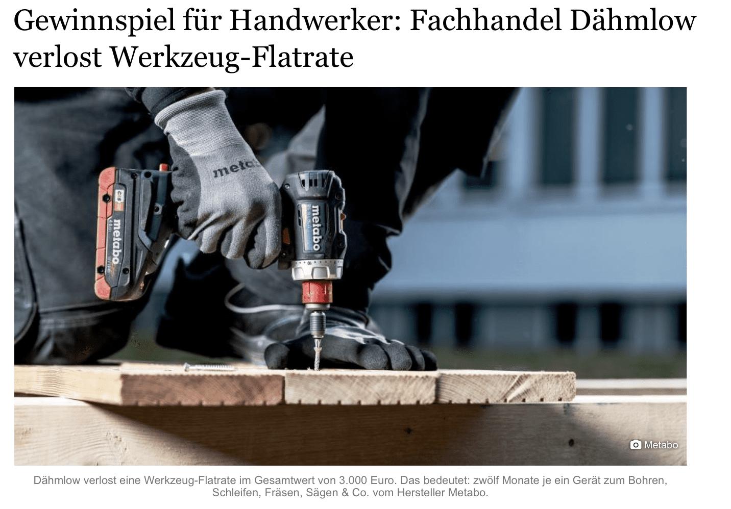 """Gewinnspiel-Cases """"Dienstleistungen, Handwerk"""" Dähmlow"""