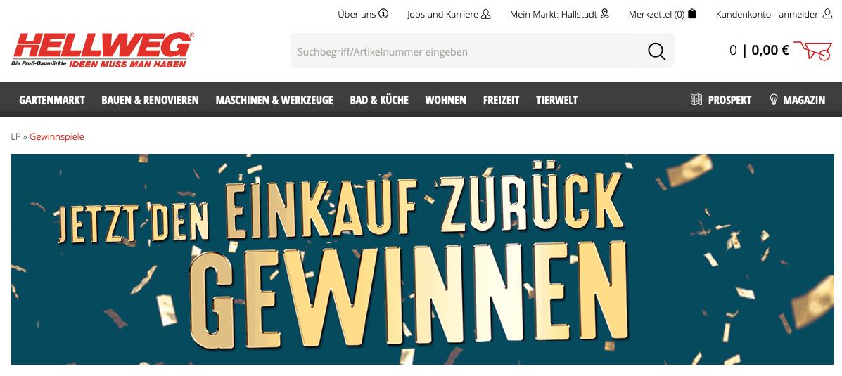 """Cases """"Gewinn Deinen Einkauf zurück"""" Hellweg"""