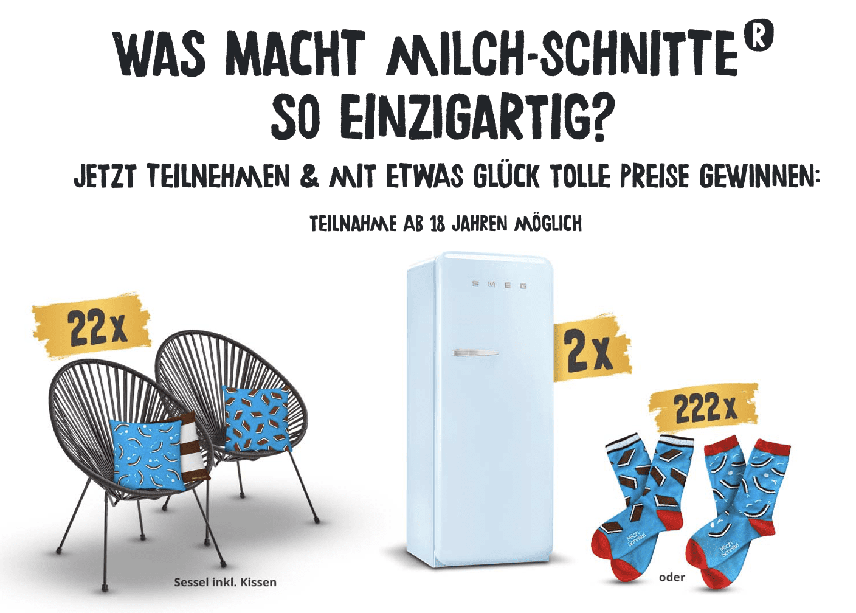 Gewinnspiel- Cases FMCG Süßwaren & Snacks Milch-Schnitte