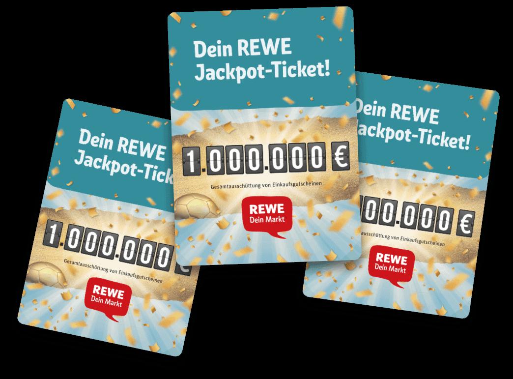 Gewinnspiel-Cases Lebensmittelhandel Rewe Jackpot-Ticket