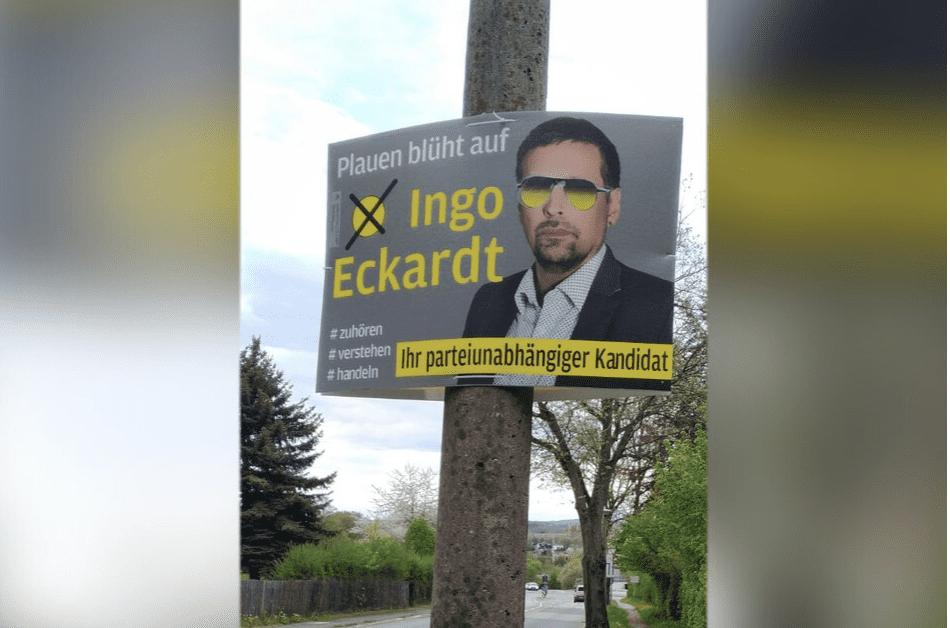 OB-Kandidat lockte mit Gewinnspiel Wahlplakat